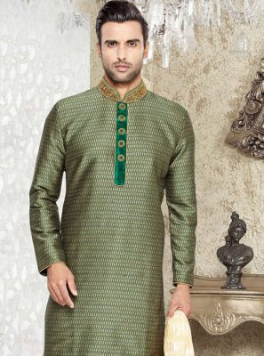 Green Cutdana Work Jacquard Silk Kurta Pyjama