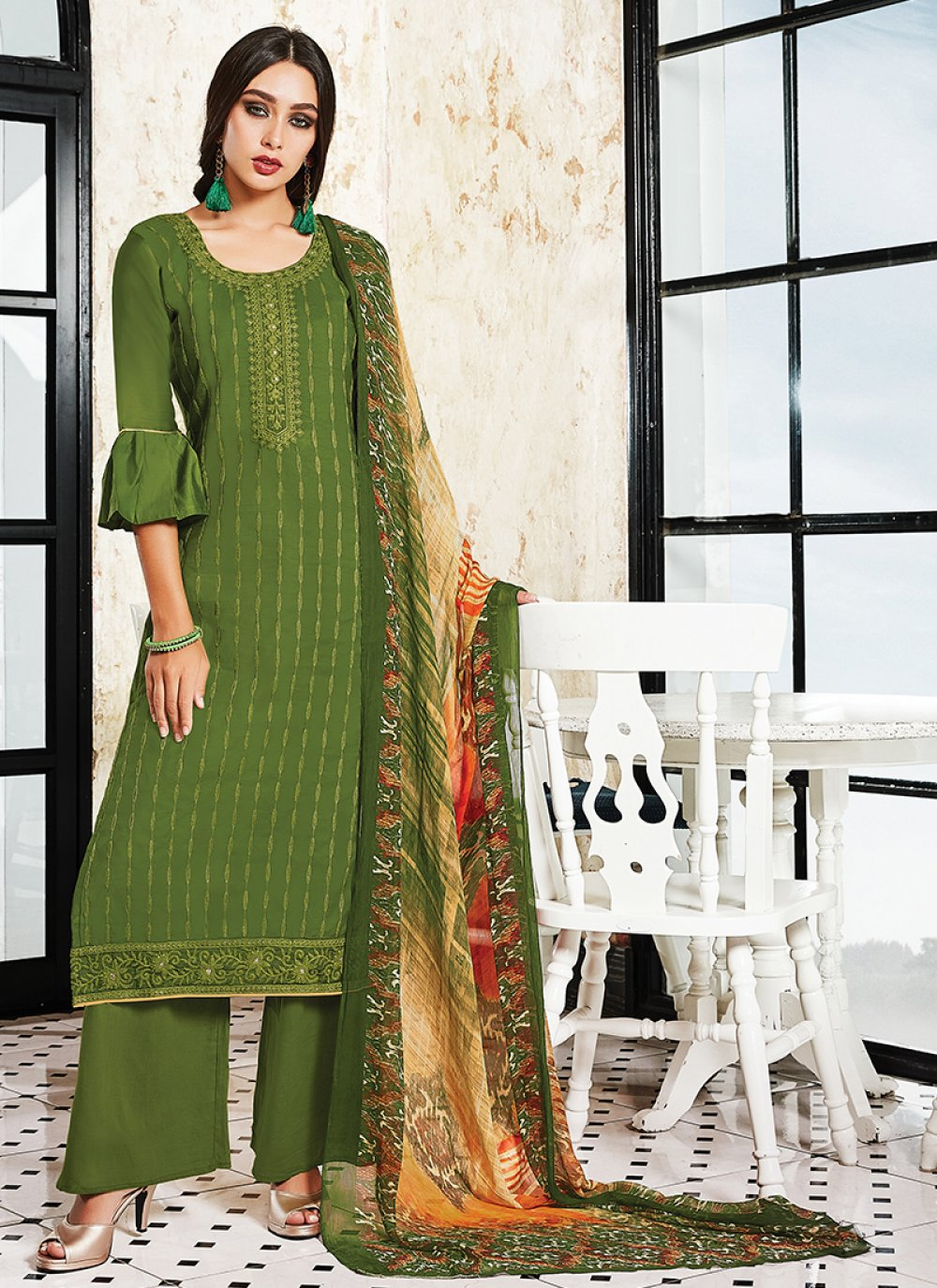 Green Designer Palazzo Suit