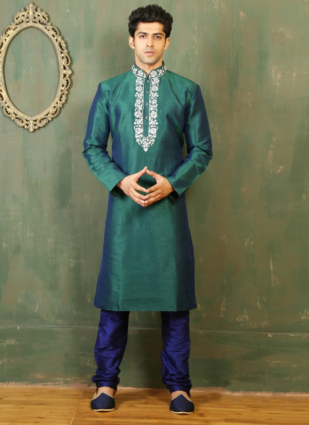 Green Dupion Silk Embroidered Work Kurta Pyjama