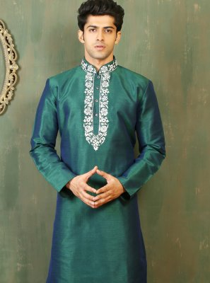 Green Dupion Silk Embroidered Work Kurta Pyjama