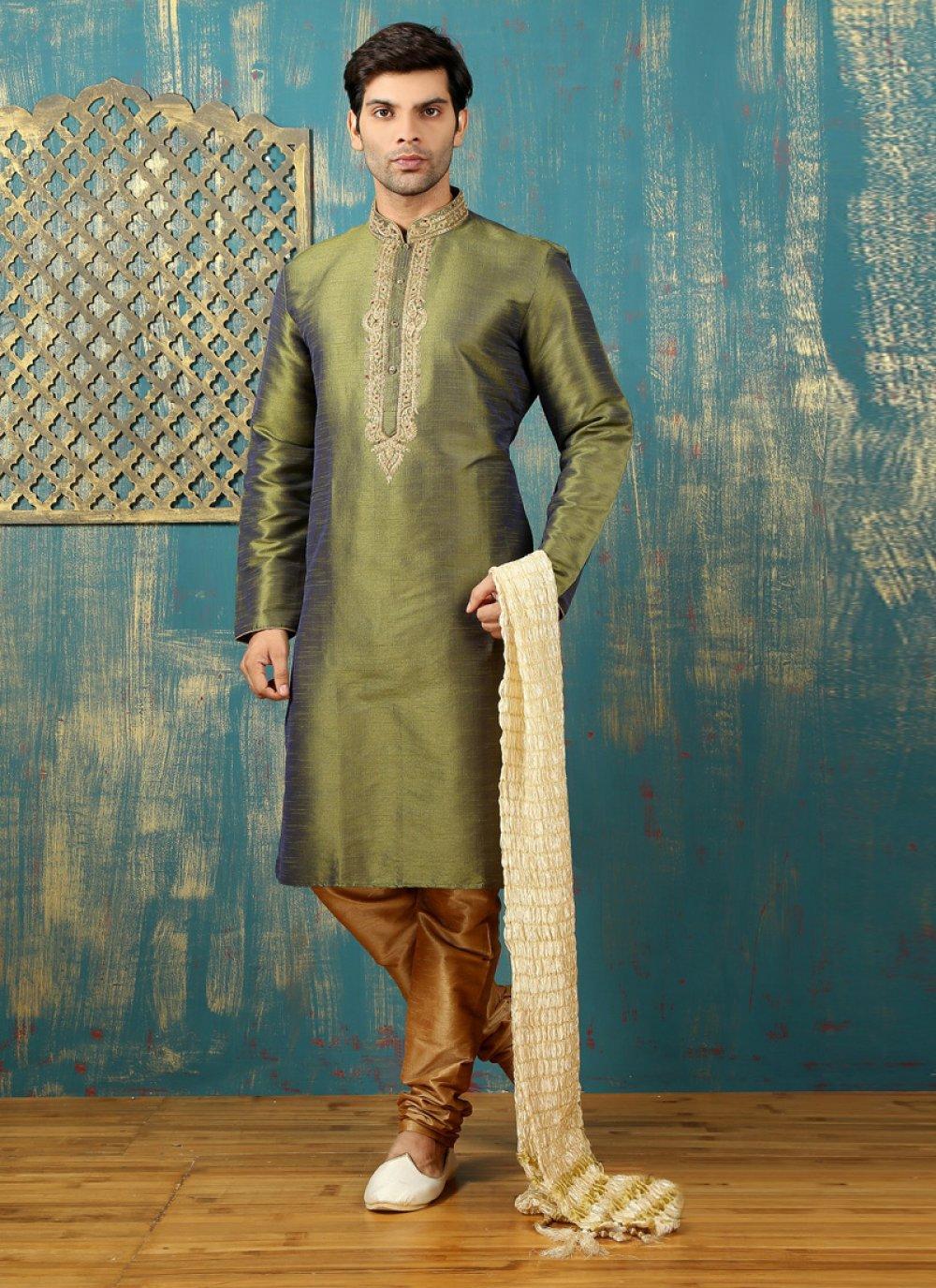 Green Dupion Silk Kurta Pyjama with Embroidered