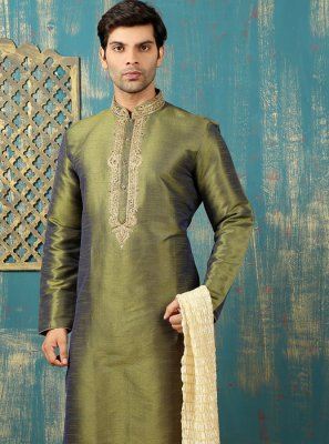 Green Dupion Silk Kurta Pyjama with Embroidered