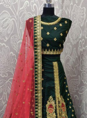 Green Embroidered Art Silk Lehenga Choli