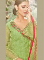 Green Embroidered Net Palazzo Designer Salwar Kameez
