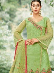 Green Embroidered Net Palazzo Designer Salwar Kameez