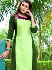 Green Embroidered Rayon Casual Kurti