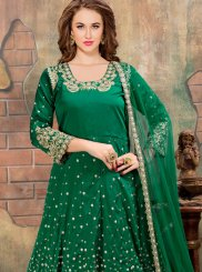 Green Embroidered Tafeta silk Anarkali Suit