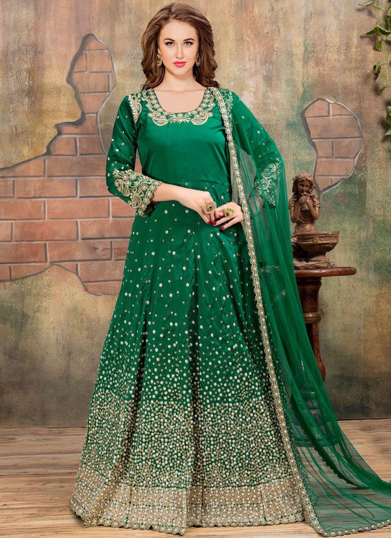 Green Embroidered Tafeta silk Anarkali Suit