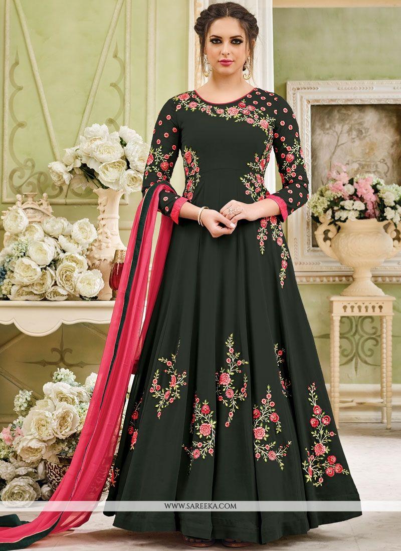 Green Embroidered Work Anarkali Salwar Kameez