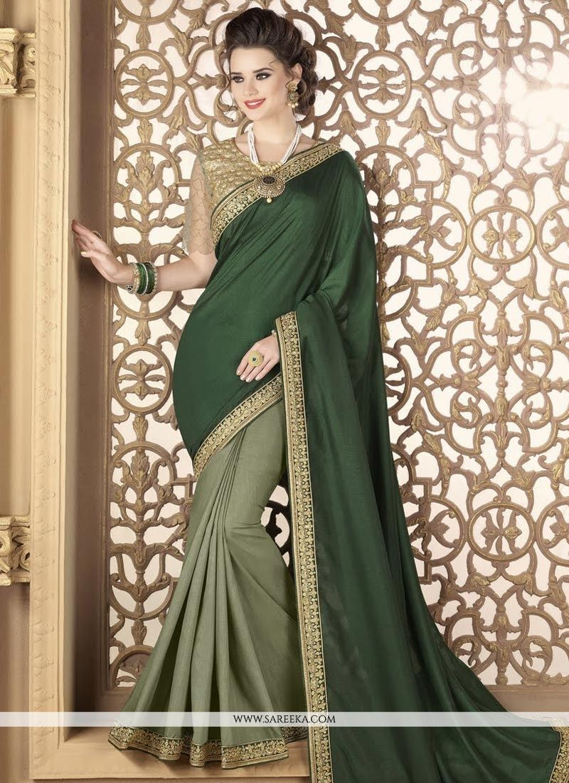 Green Embroidered Work Art Silk Designer Half N Half Saree
