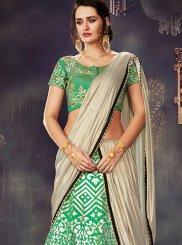 Green Embroidered Work Lehenga Saree