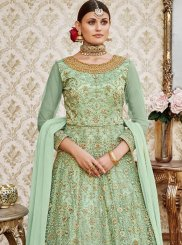 Green Embroidered Work Net Floor Length Anarkali Suit