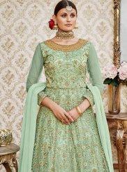 Green Embroidered Work Net Floor Length Anarkali Suit