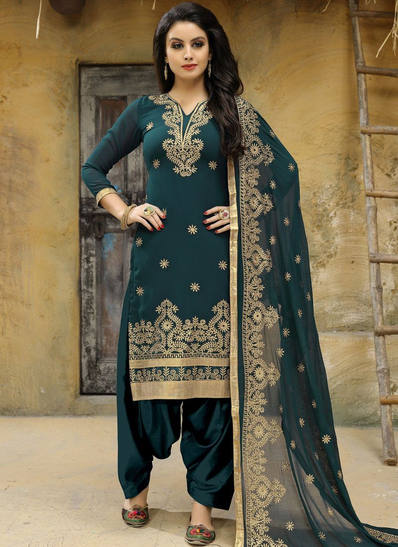 Green Embroidered Work Punjabi Suit