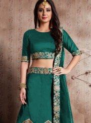 Green Embroidered Work Silk Lehenga Choli