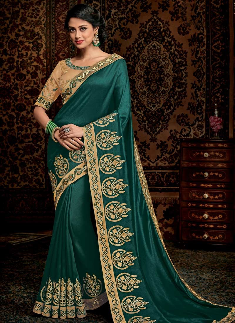 Green Embroidered Work Trendy Saree