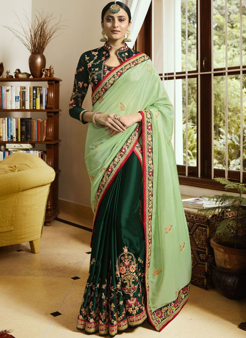 Green Faux Crepe Classic Saree