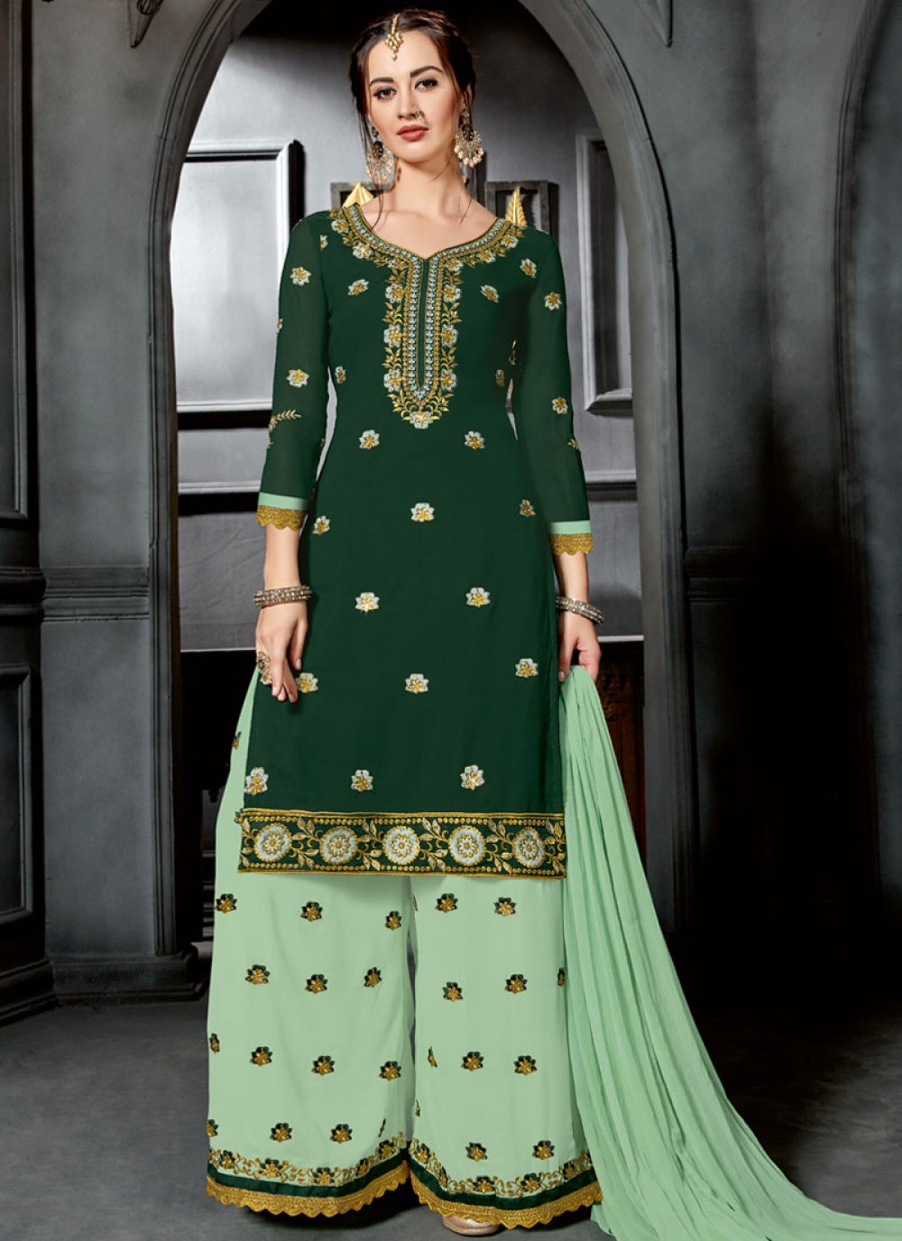 Green Faux Georgette Designer Palazzo Suit