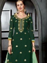Green Faux Georgette Designer Palazzo Suit