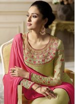 Green Faux Georgette Pant Style Suit