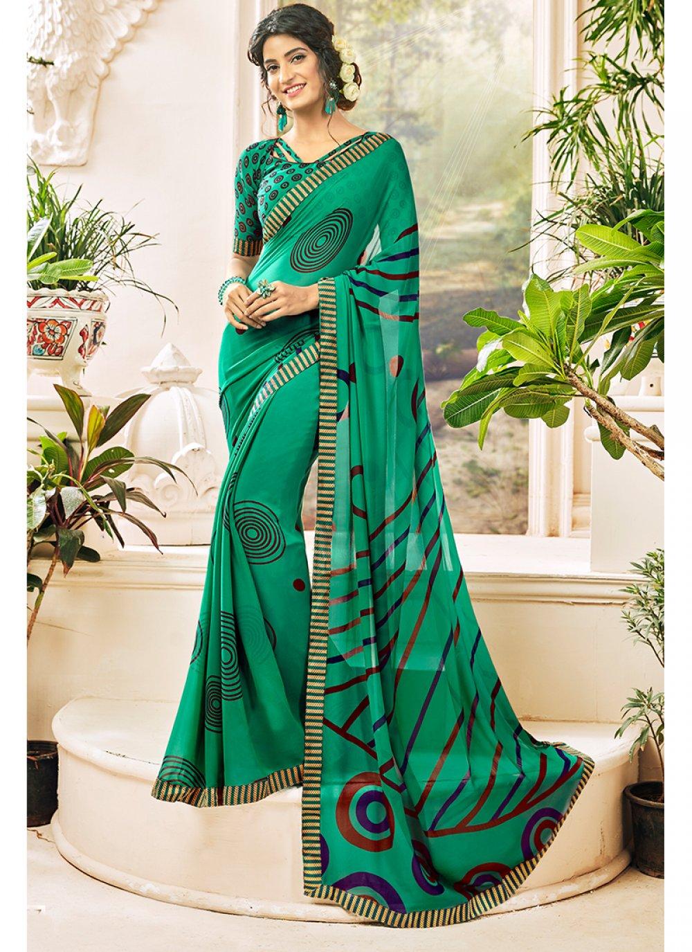 Green Georgette Casual Saree