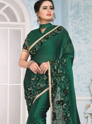 Green Lace Art Silk Traditional Designer Saree