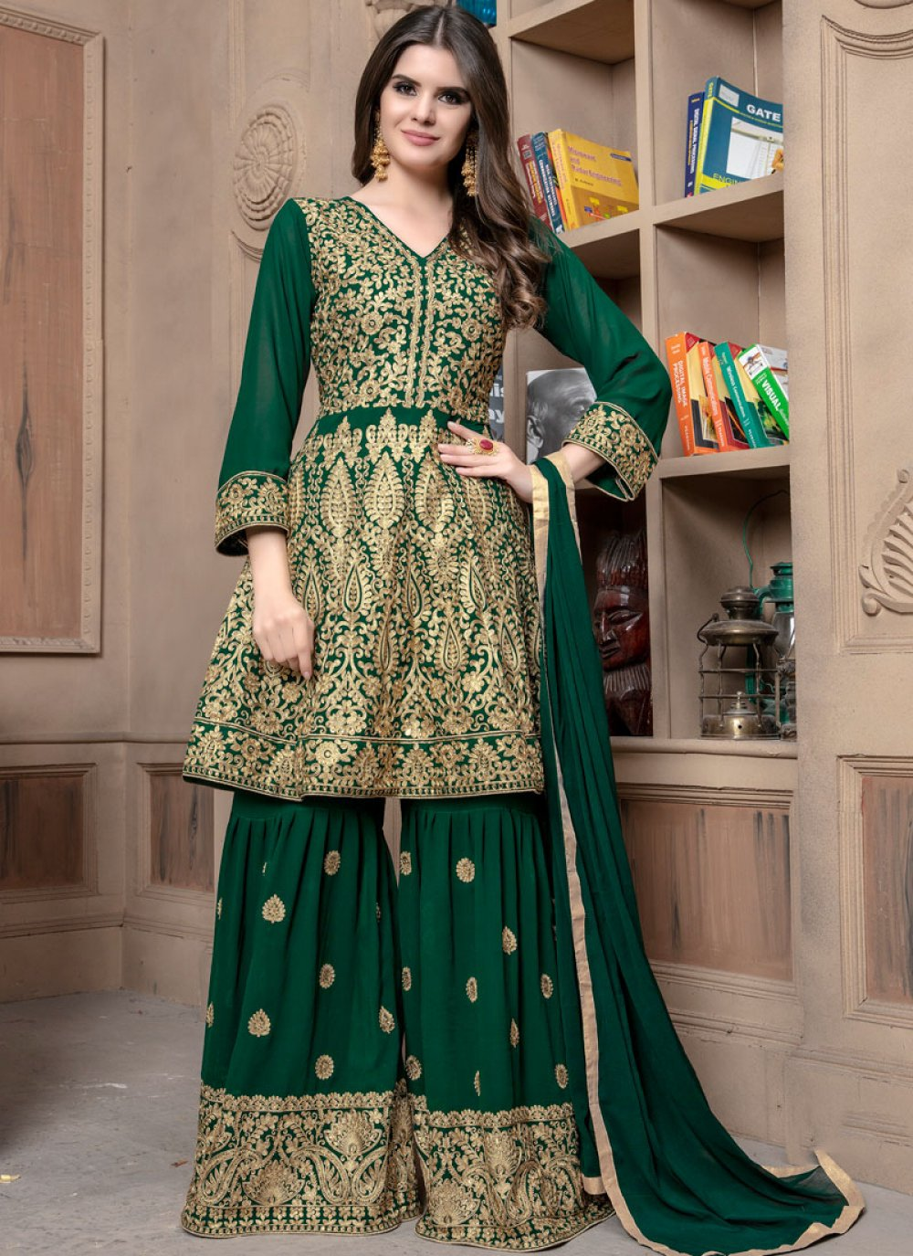 Green Lace Designer Palazzo Suit
