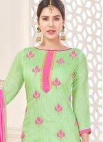 Green Lace Work Cotton   Churidar Suit