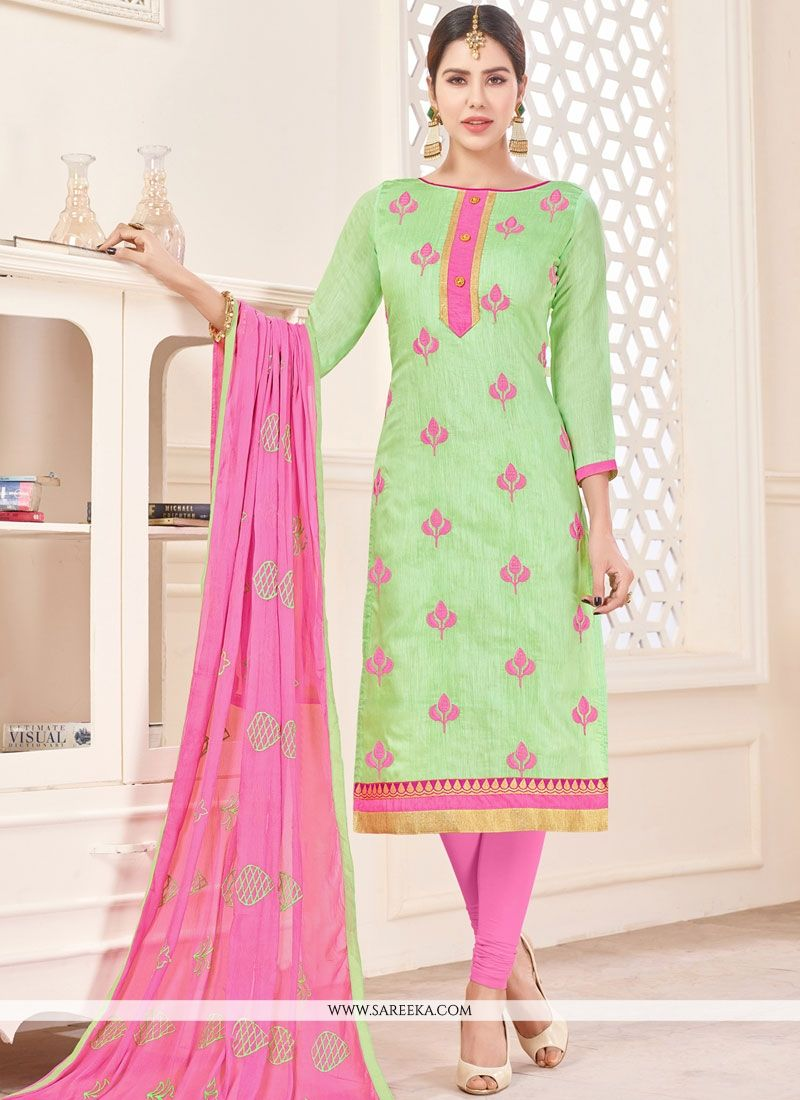 Green Lace Work Cotton   Churidar Suit