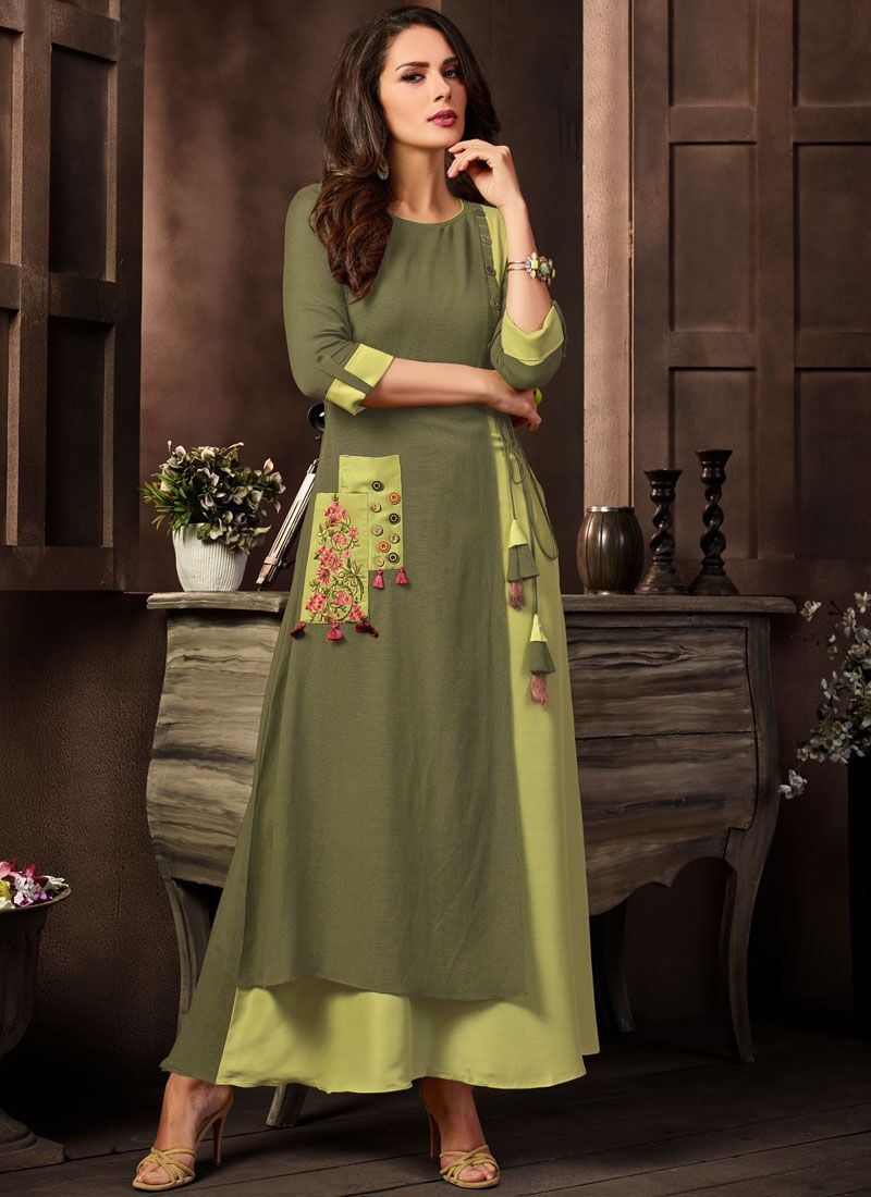 Green Maslin Silk Party Casual Kurti