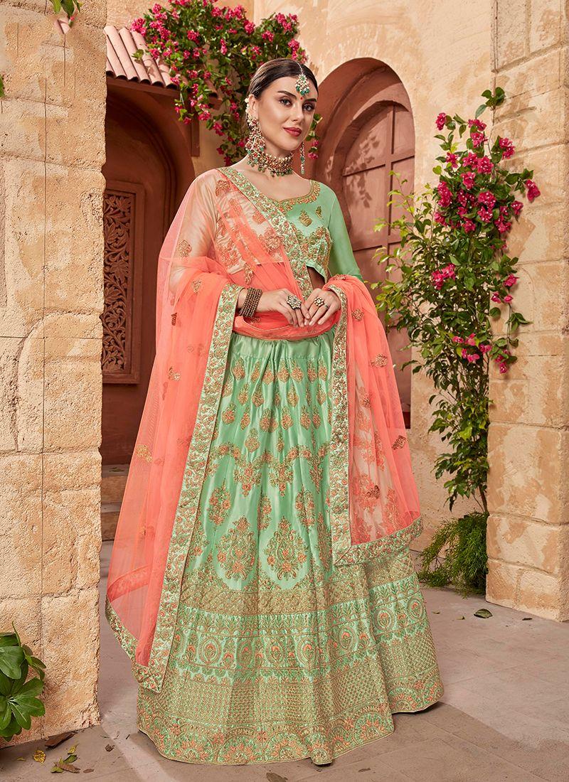 014bc09cc Buy Green Mehndi Designer Lehenga Choli Online -
