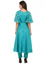Blue Mehndi Poly Silk Anarkali Salwar Suit
