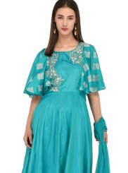 Green Mehndi Poly Silk Anarkali Salwar Suit