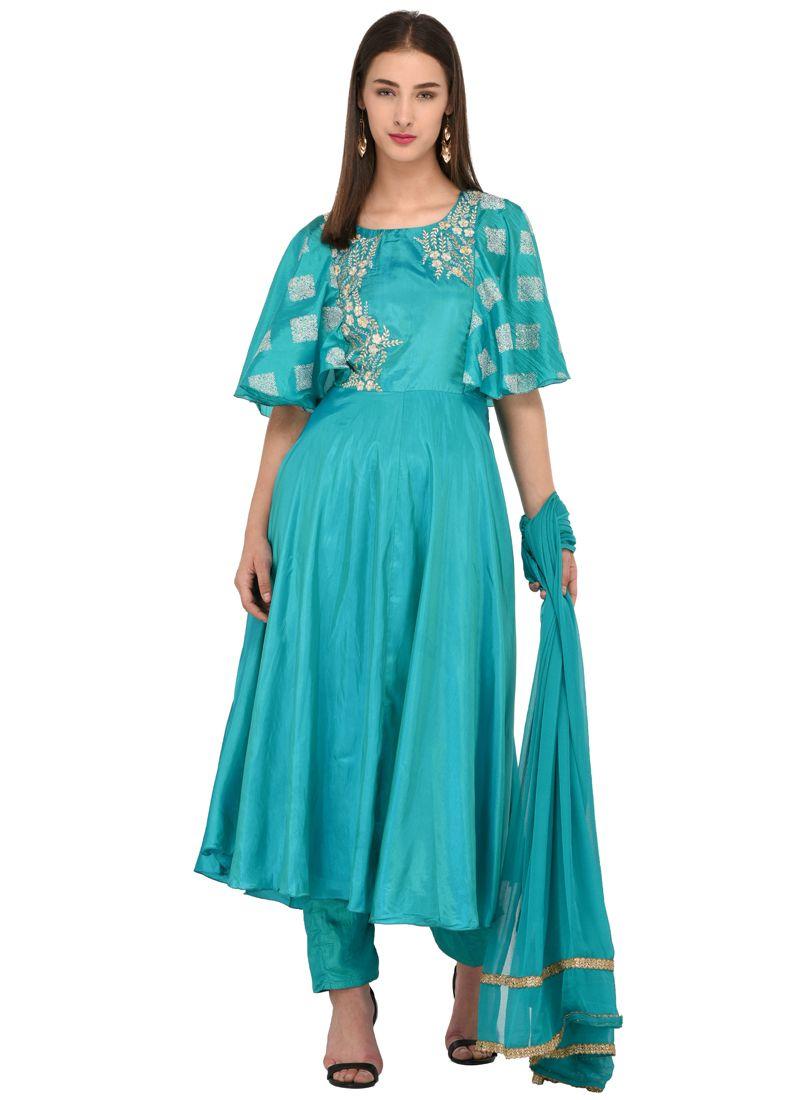 Green Mehndi Poly Silk Anarkali Salwar Suit
