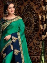Green Mehndi Satin Silk Trendy Saree