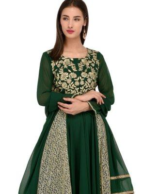 Green Party Georgette Anarkali Salwar Suit