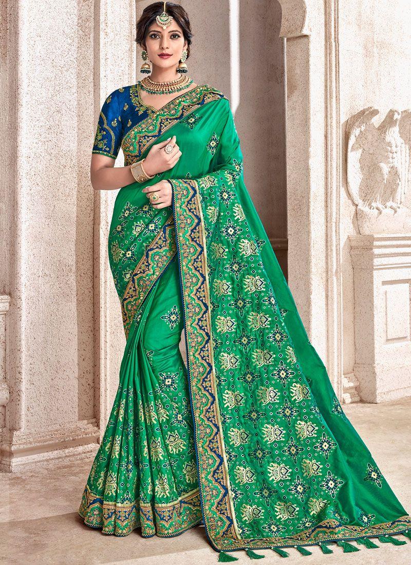 Green Patch Border Fancy Fabric Half N Half Designer Saree