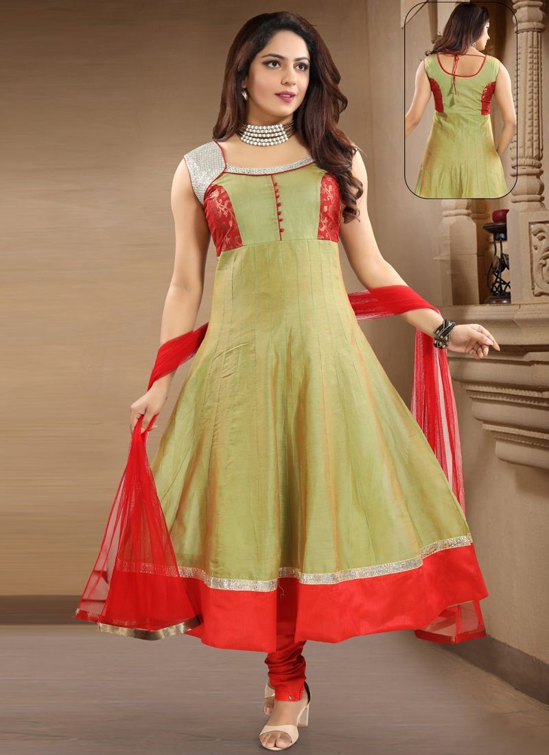Green Patchwork Chanderi Salwar Kameez