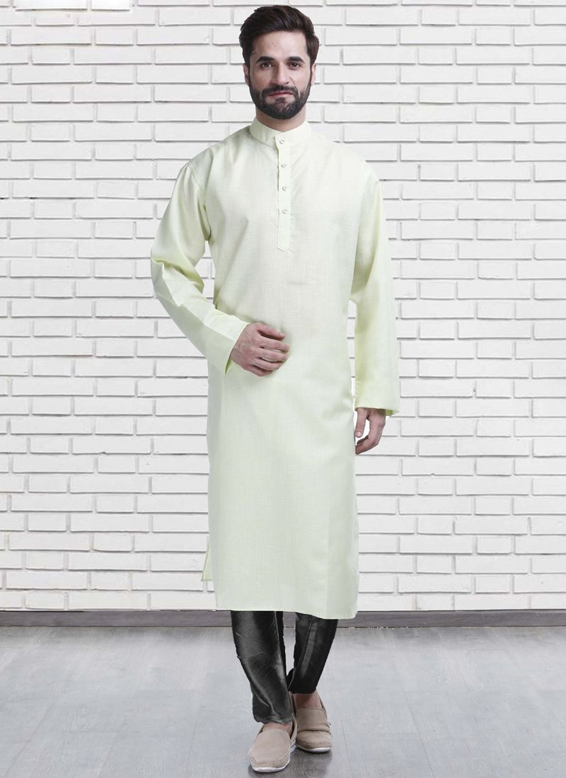 Green Plain Poly Cotton Kurta Pyjama