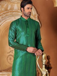 Green Plain Work Dupion Silk Kurta Pyjama