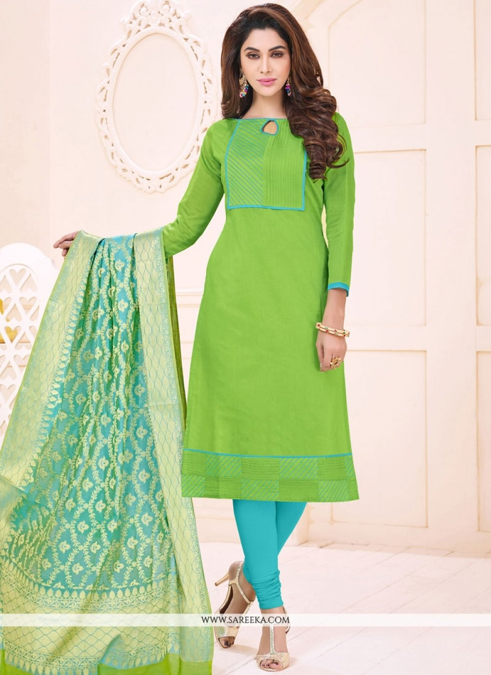 Green Print Work Cotton   Churidar Suit