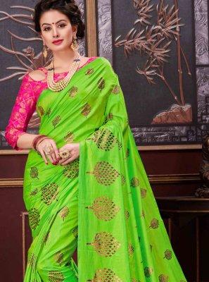Green Print Work Net Designer Saree