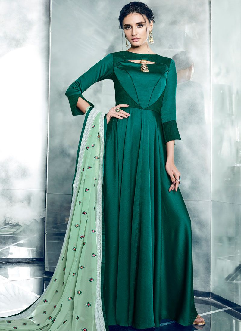 Green Readymade Anarkali Suit
