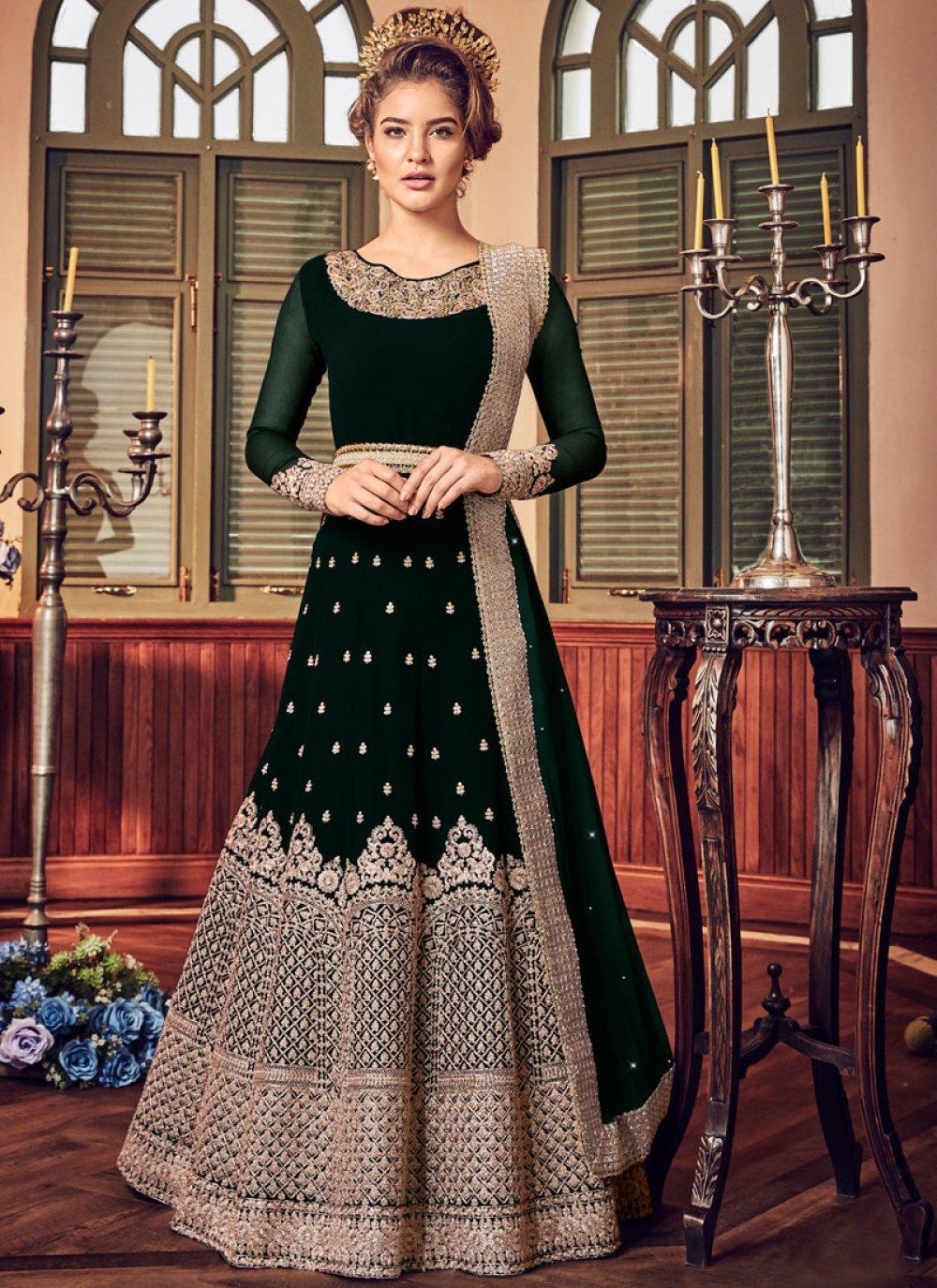 Green Reception Floor Length Anarkali Suit