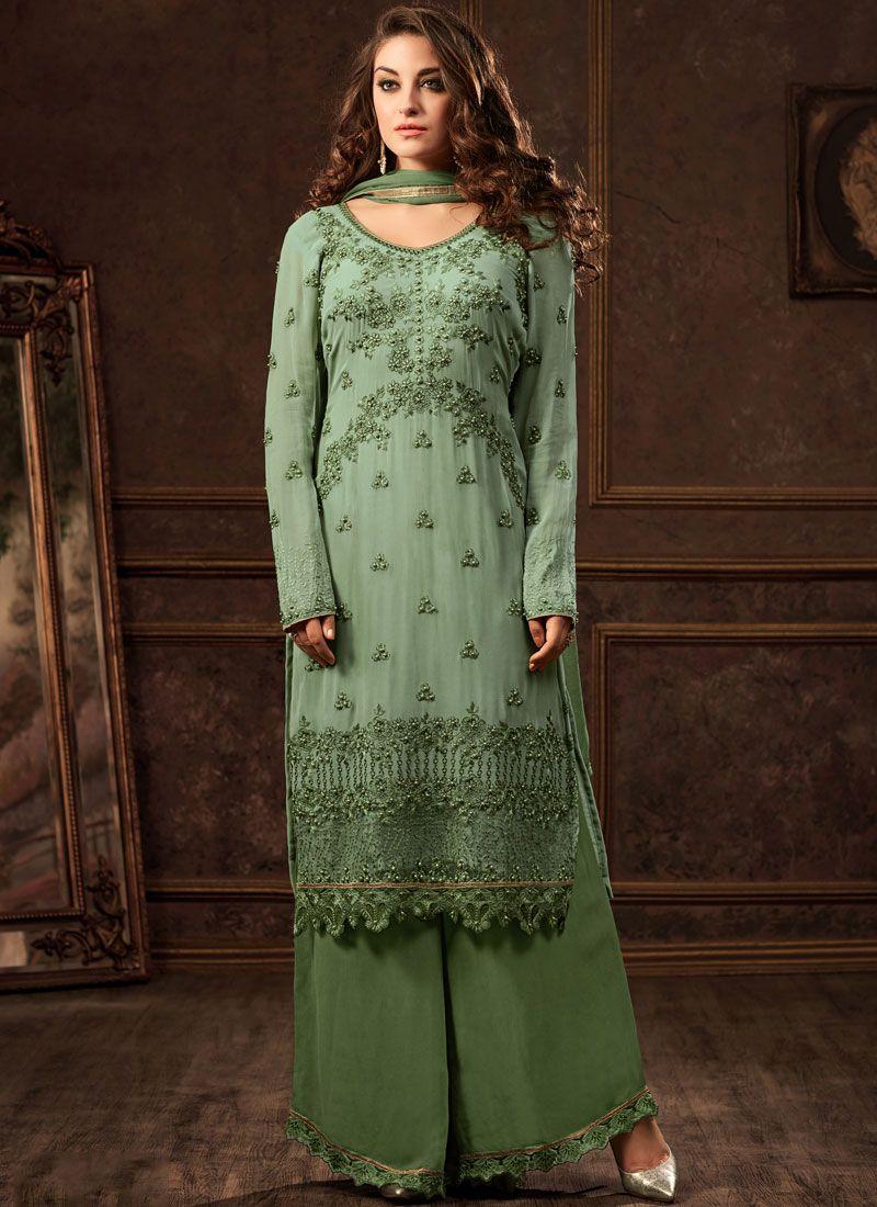 167ed0348c Buy Online Green Resham Party Designer Pakistani Suit : 90580 -