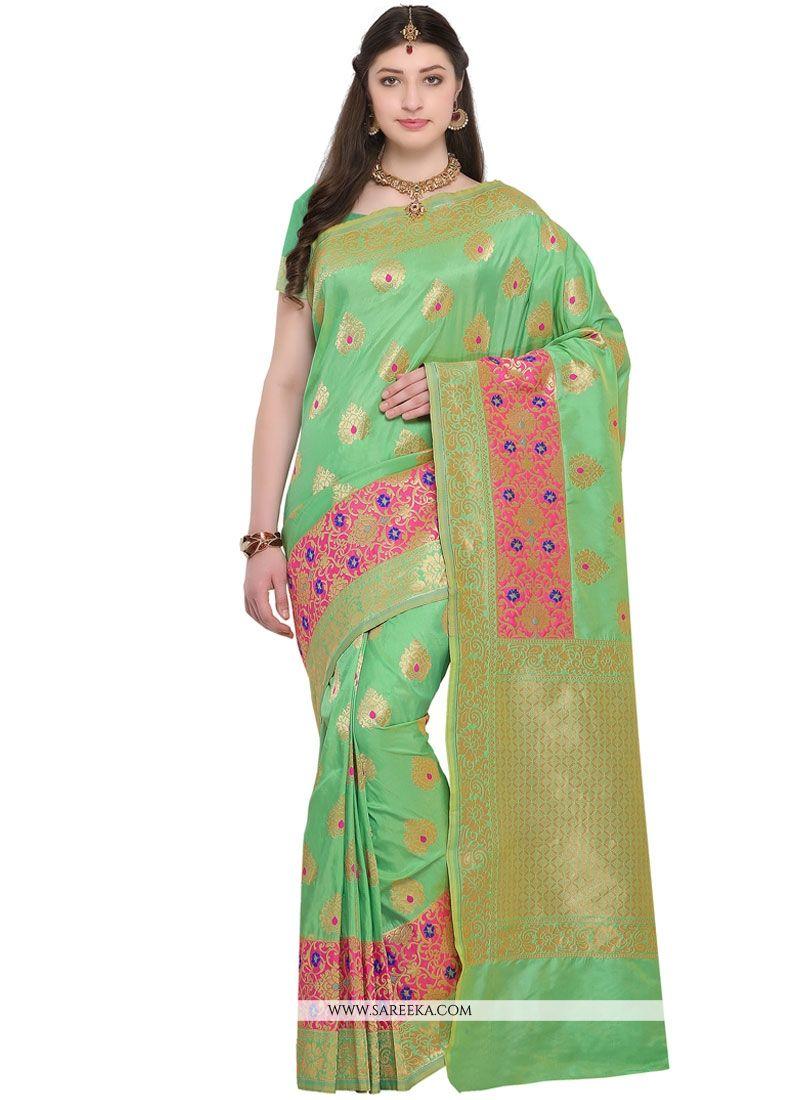Green Resham Work Banarasi Silk Silk Saree
