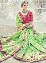 Green Resham Work Banarasi Silk Traditional Designer Saree