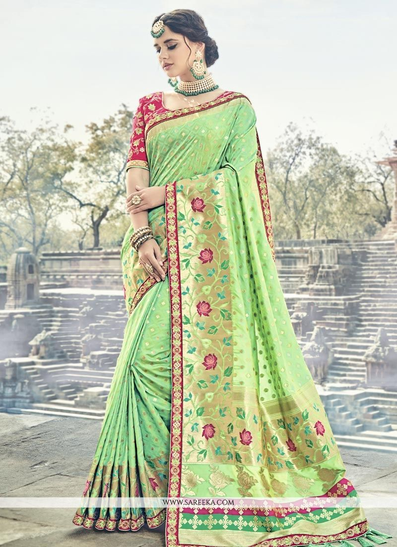 Green Resham Work Banarasi Silk Traditional Designer Saree