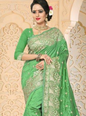 Green Resham Work Traditional  Saree