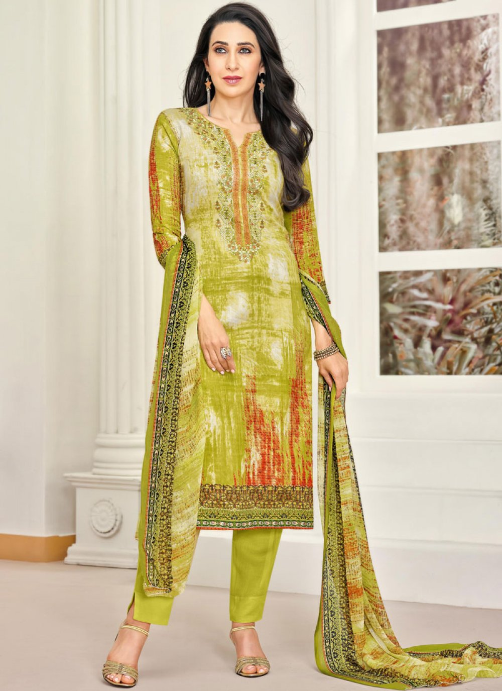 Green Satin Party Pant Style Suit